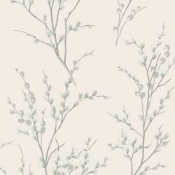 Papel Pintado Pussy Willow Blanco Hueso / Gris Acero