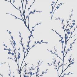 Papel Pintado Pussy Willow Blanco Hueso / Azul noche
