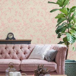 Papel Pintado Oriental Garden Perlado Rosa Talco
