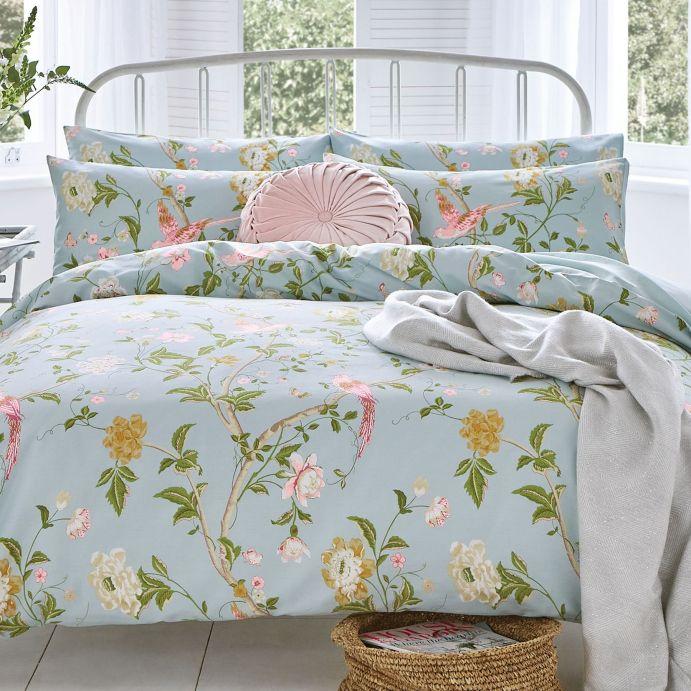 set de cama con pájaros y flores en azul verdoso