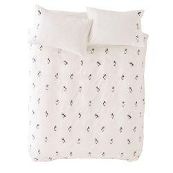 set de cama Puffins gris plata bordado