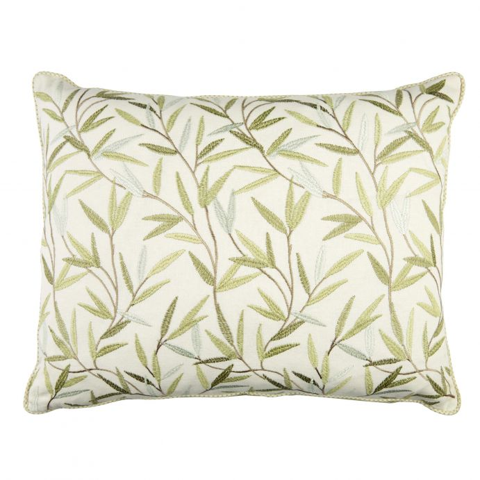 cojín Willow Leaf bordado verde seto