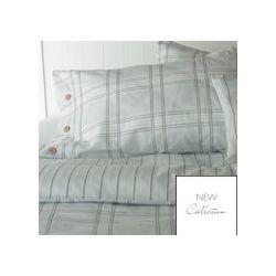 funda de almohada o cojín decorativo en algodón de cuadros azules