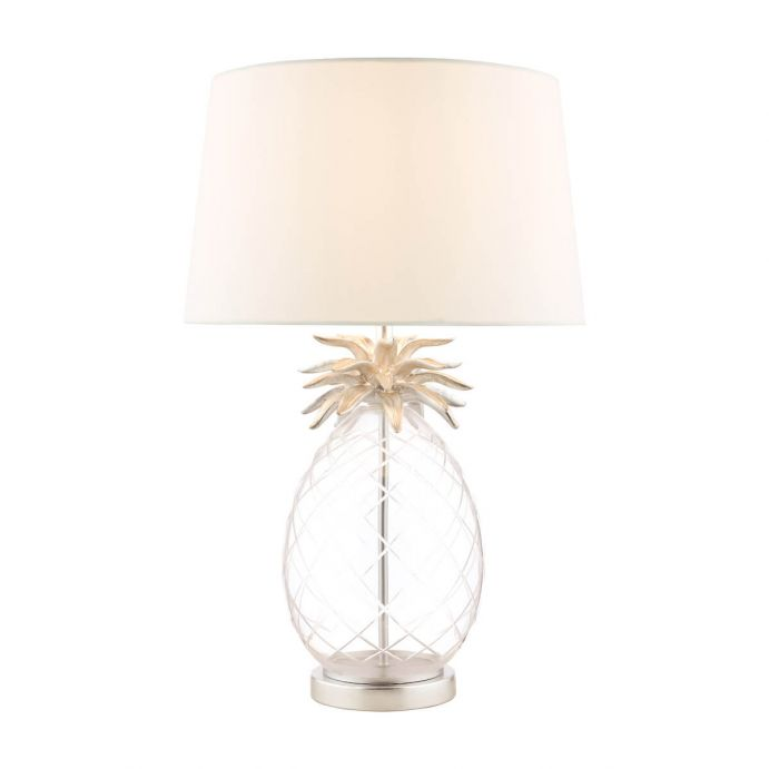 lámpara de mesa de cristal con base en forma de piña y detalles cromados de diseño