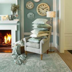 alfombra azul diseño clásico elegante mezcla lana y algodón
