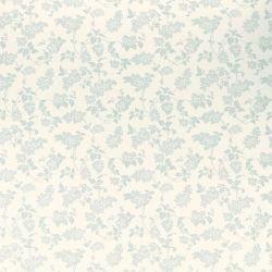 papel pintado azul verdoso con pequeñas flores y hojas silueteadas