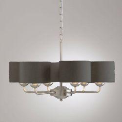 lámpara de techo Sorrento cromo 6 pantallas carbón