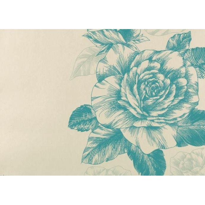 papel pintado de flores Malvern verde cerceta