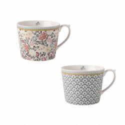 2 tazas Tea Collectables flores
