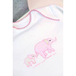body manga larga de algodón pink elephant