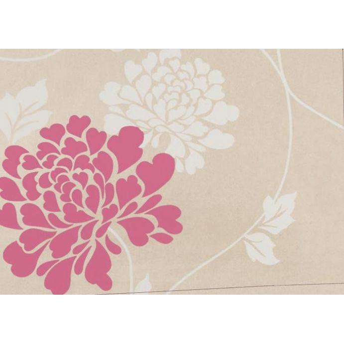 papel pintado natural con flores rosas y blancas de gran tamaño