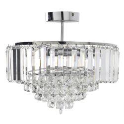 lámpara de techo de cristal de diseño clásico en plafón con soporte cromado