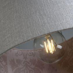 Pantalla cilindrica lino plateado