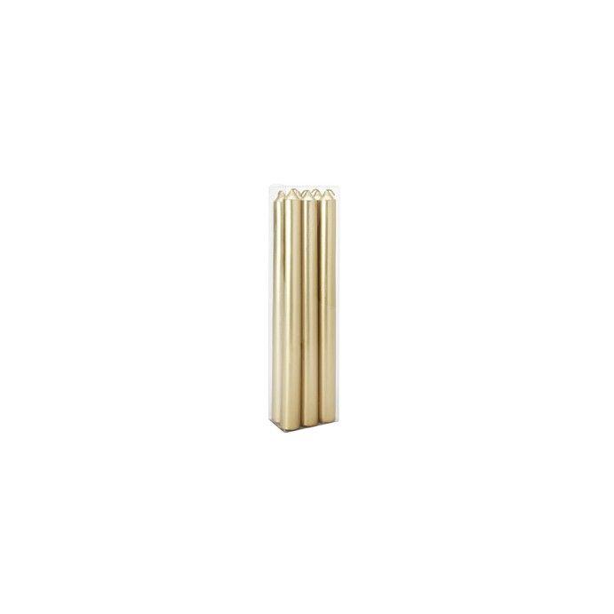 juego de 6 velas alargadas color dorado metálico