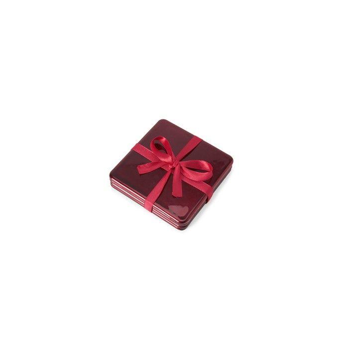 juego de 4 posavasos con acabado lacado rojo