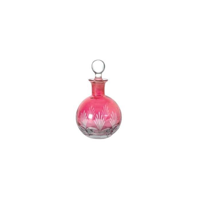 frasquito perfumero en cristal rosa biselado