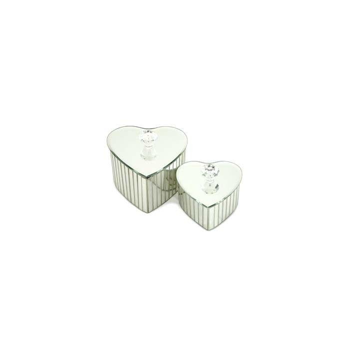 juego de 2 cajitas espejadas en forma de corazón