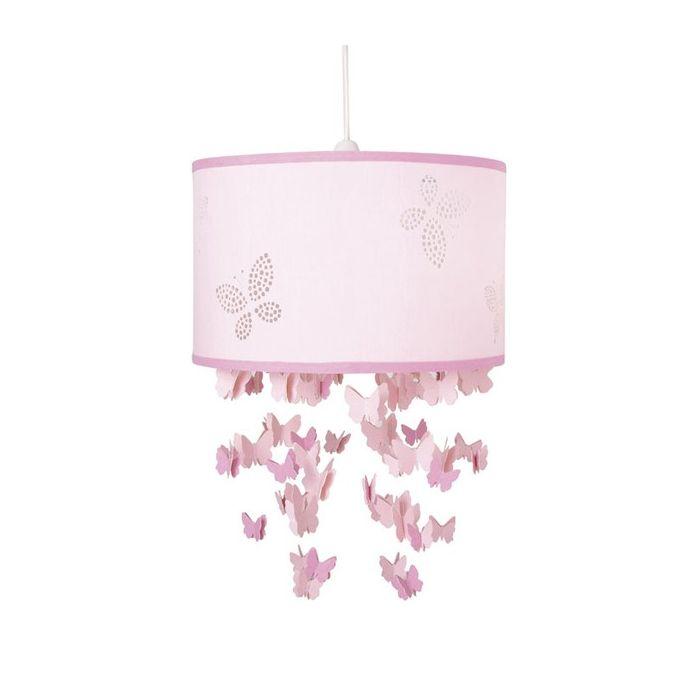 lámpara infantil rosa con cascada de mariposas de diseño