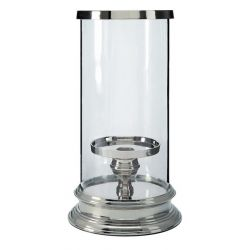 candelabro cilíndrico de acabado cristal y plata