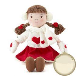 muñeca de peluche con diseño invernal en rojo y blanco