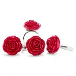 juego de 4 servilleteros con rosa decorativa en ro