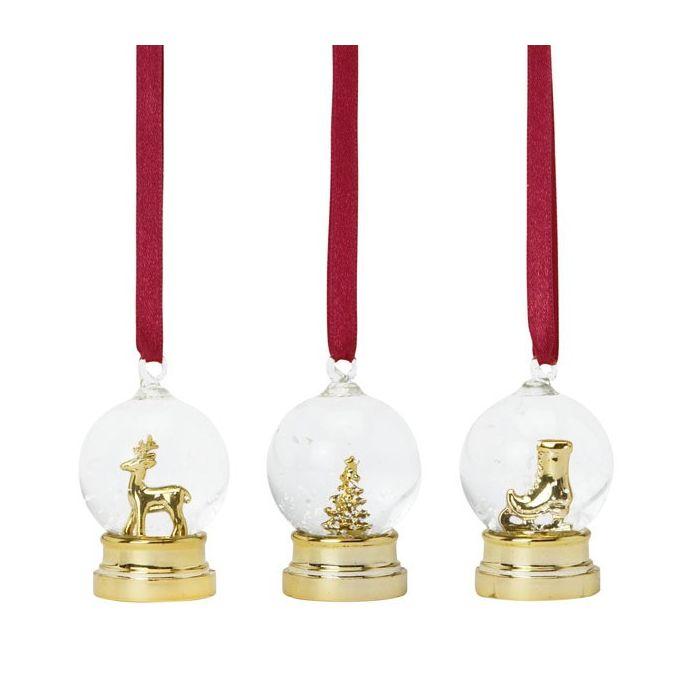 conjunto de tres bolas navideñas decorativas dorad