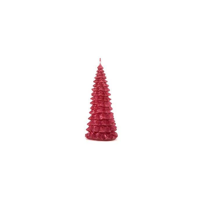vela con diseño de árbol de navidad rojo