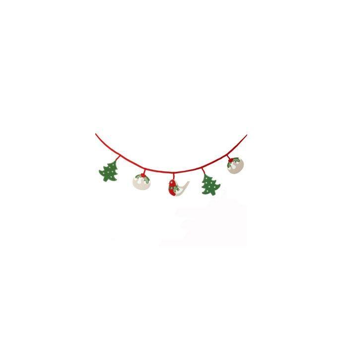 guirnalda textil con motivos navideños
