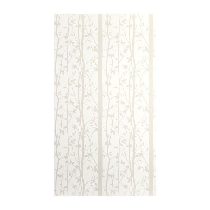papel pintado blanco de troncos de árboles con flores brillantes