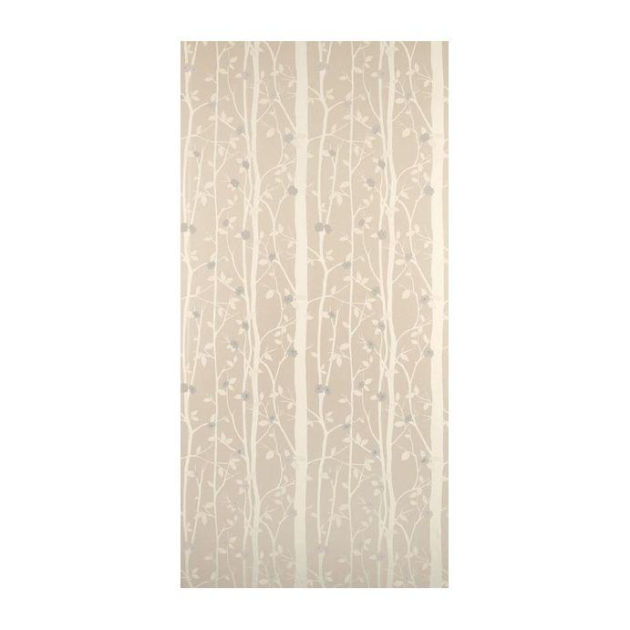 papel pintado color natural de troncos de árboles con flores blancas
