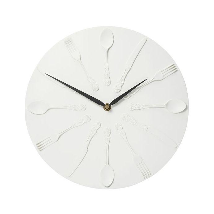 reloj de pared crema diseño cubiertos