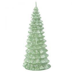 vela con diseno de arbol de navidad verde