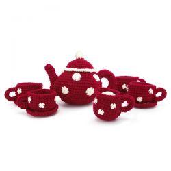 juego de té crochet rojo