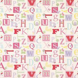 tejido de algodón alphabet