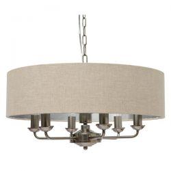 lámpara de techo sorrento cromo - lino de 6 brazos