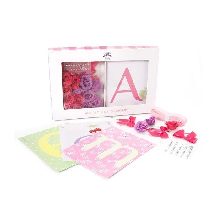 conjunto banderitas infantiles alphabet rosa