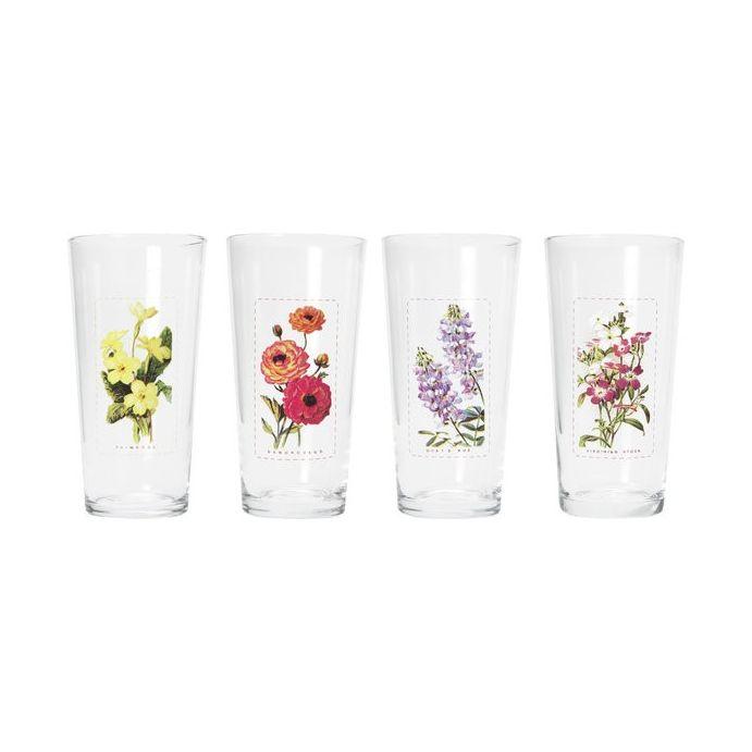 juego de cuatro vasos de cristal estampado floral