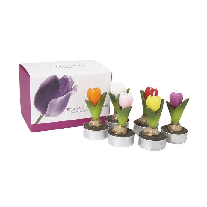 juego de seis velas de té mini tulipanes