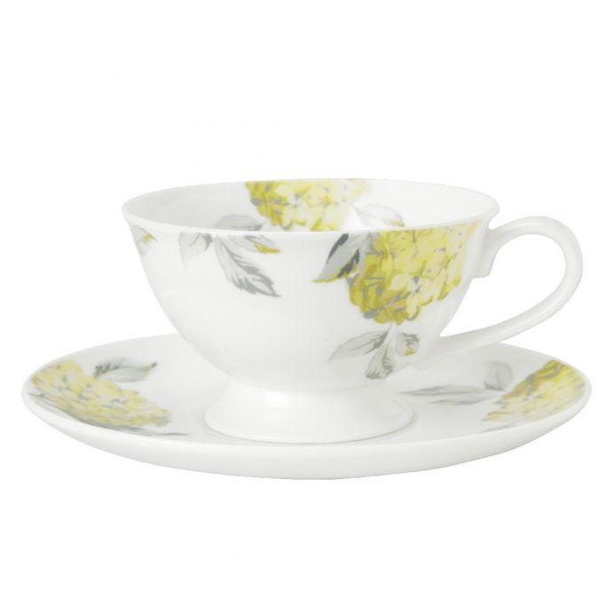 conjunto de taza y plato hydrangea