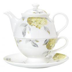 conjunto individual de té hydrangea