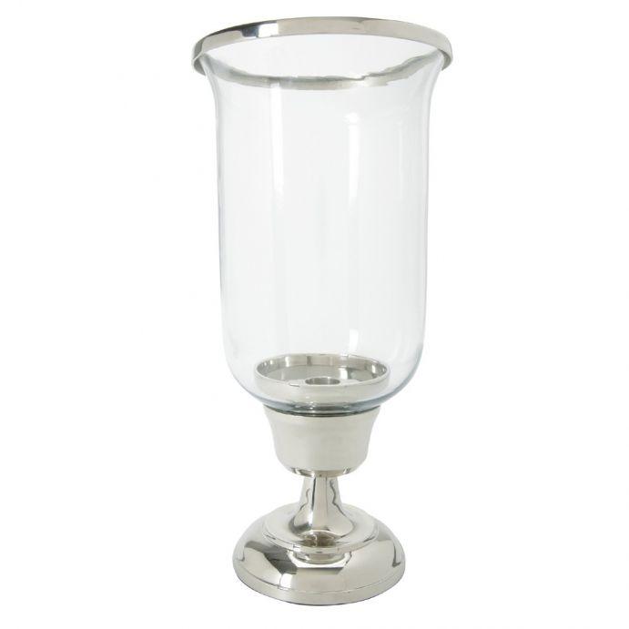 candelabro de cristal y plata curvo con soporte