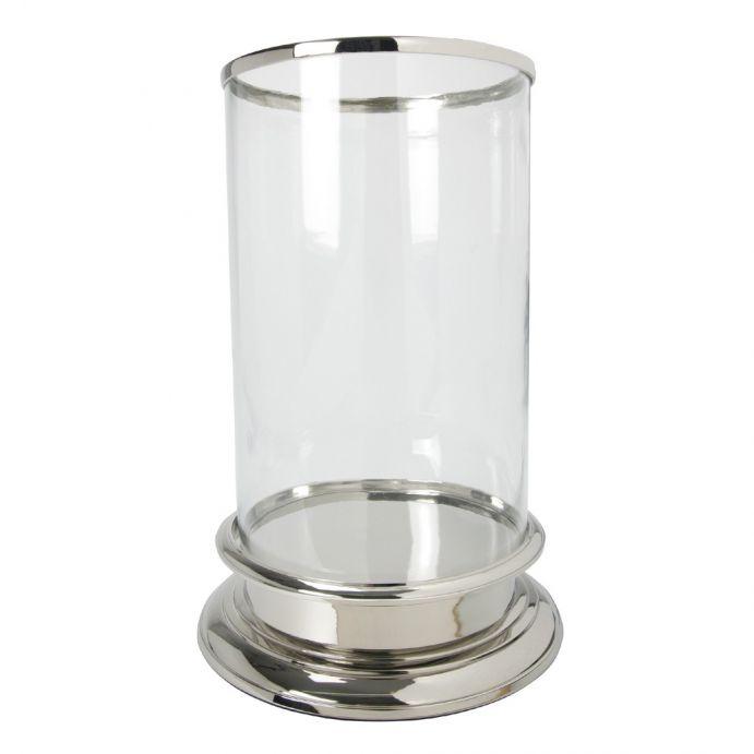 súper candelabro cilíndrico en cristal y plata