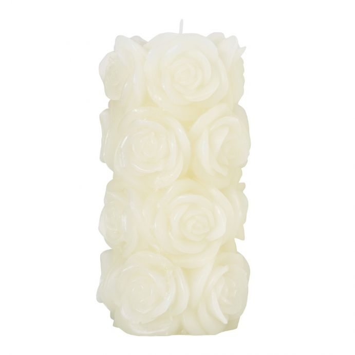 vela de columna rosas crema