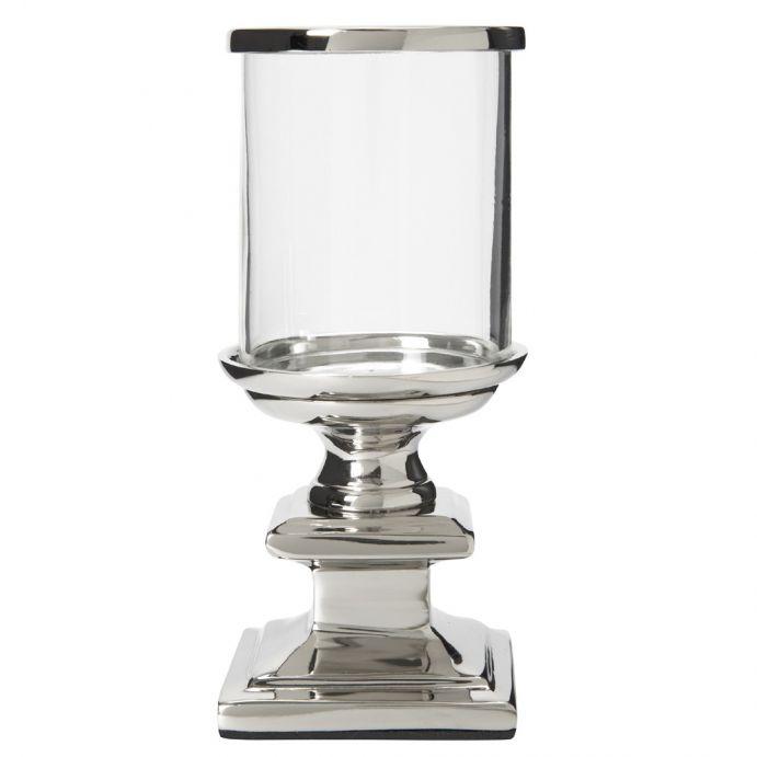 mini candelabro de cristal y plata curvo con sopor