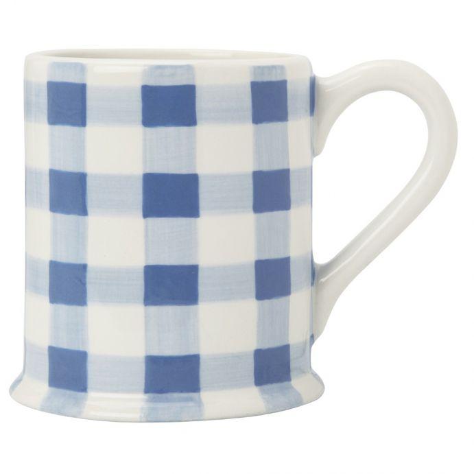 taza recta cerámica gingham azul