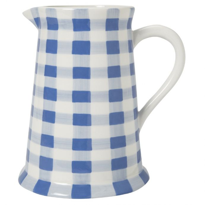 jarra grande cerámica gingham azul