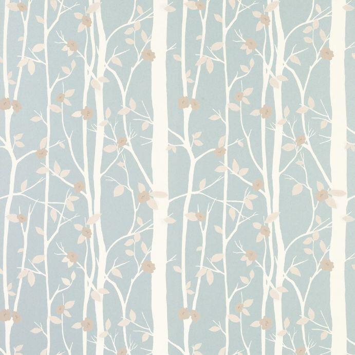 papel pintado azul verdoso con diseño de ramas de árbol de algodón