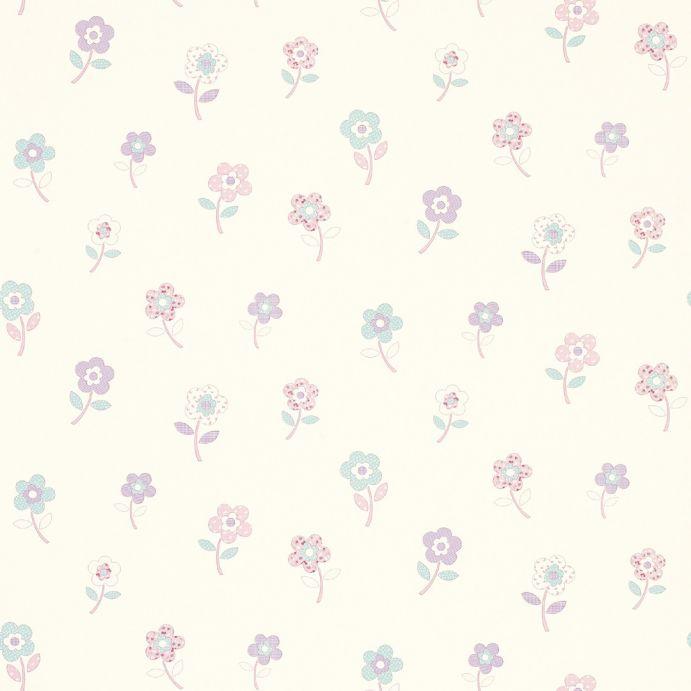 papel pintado infantil con flores de colores de diseño