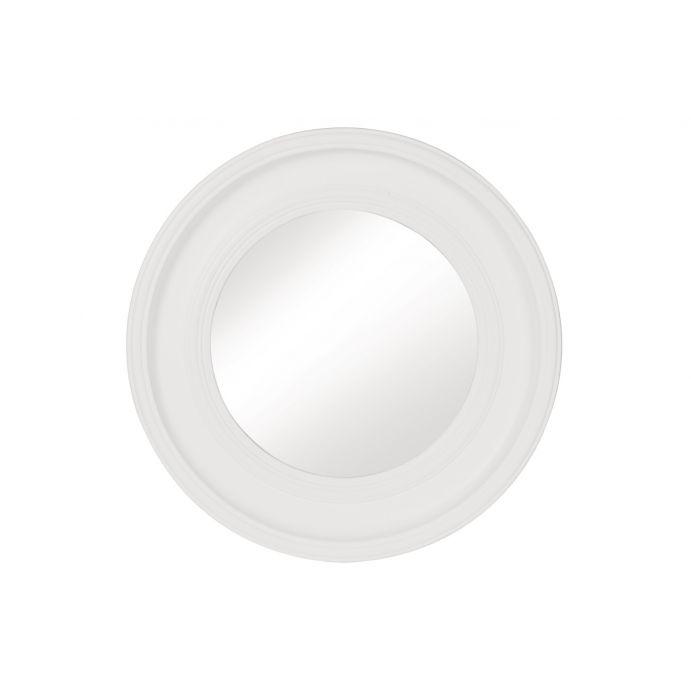 espejo redondo de marco blanco biselado