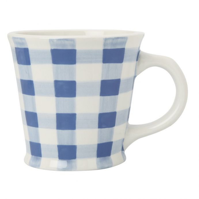 taza cónica cerámica gingham azul